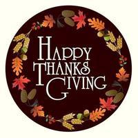 Happy Thanksgiving im Kreis Emblem mit Blättern vektor