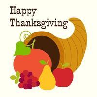 lycklig tacksägelse frukt cornucopia vektor