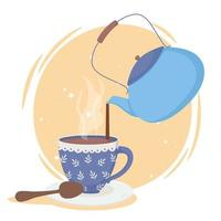 Kaffeezeit Zusammensetzung mit Wasserkocher und Tasse vektor