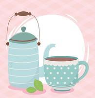 kaffetidskomposition med vattenkokare och kopp vektor