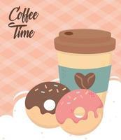 Kaffeezeit Zusammensetzung mit Donuts vektor