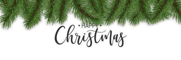 realistische Kiefergrenze und glücklicher Weihnachtstext vektor