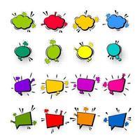 Comic farbiges leeres Sprechblasen-Set