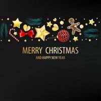 dunkle Postkarte mit Weihnachtselementen vektor