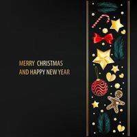 dunkle Postkarte mit Weihnachtselementen