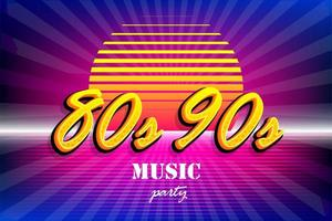 retro 80s 90s neon solnedgång part affisch mall vektor