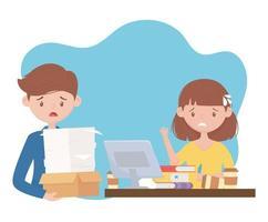 stressade, överarbetade anställda vektor