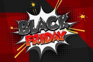 Black Friday Comic Text Sprechblase Design vektor