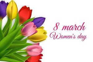realistiska tulpaner 8 mars kvinnodagsdesign vektor