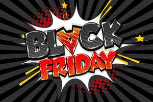 svart fredag komisk text pratbubbla design vektor