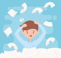 stressad anställd med högar av papper vektor