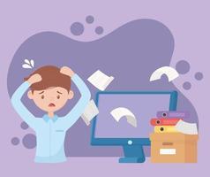 stressad anställd med papper som flyger