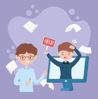 gestresster Mitarbeiter, der online Hilfe sucht vektor
