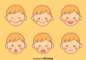 Hand gezeichnet Baby Face Expressionsvektor vektor