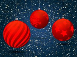 hängande röda julgranskulor med mönster