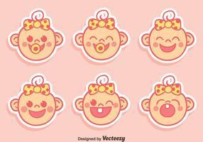 Cute Baby Face uttryck med band vektor