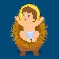 Baby Jesus liegt in einer Krippe vektor