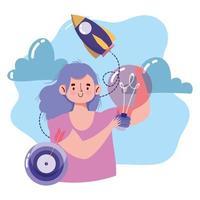 Kreativität und technologische Komposition mit Frau vektor