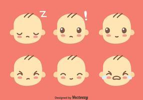 Söt Baby Face Collection Vector