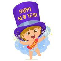 liten bebis firar det nya året vektor