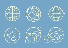 Globus mit Pfeil und Flugzeug Icons Vektoren