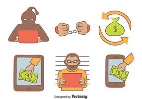 Hand gezeichnet Cyber-Diebstahl-Vektoren