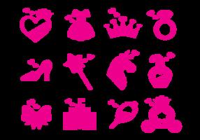 Princesa ikoner vektor