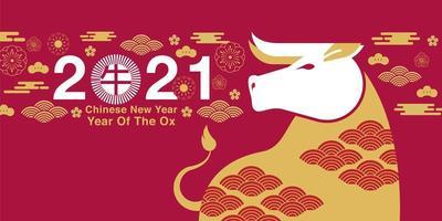 kinesiskt nyår 2021 röd banner vektor