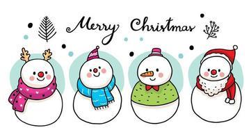 süße Schneemänner tragen Schal vektor
