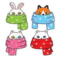 süße Tiere mit Schal