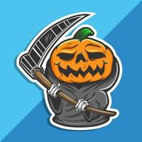 Halloween-Kürbis des Sensenmanns vektor