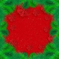 Weihnachtshintergrund mit Tannenzweigen und Schnee vektor