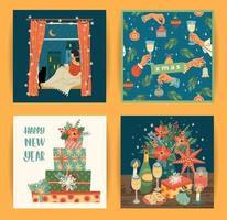Satz von Weihnachten und Frohes neues Jahr Szenen vektor