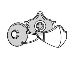 grå medicinska masker skydd tillbehör linje stil ikon