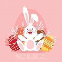 glückliches Osterplakat mit verzierten Eiern und Hase vektor
