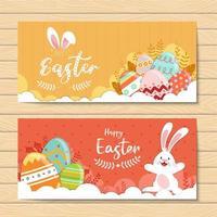 fröhliche Osterbanner mit dekorierten Eiern und Kaninchen vektor