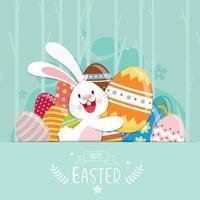 glad påskaffisch med dekorerade ägg och kanin