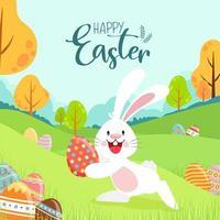 glückliches Osterplakat mit Hase, der Eier draußen versteckt