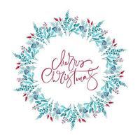 Frohe Weihnachten Text im floralen Winterkranz vektor