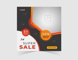 Super Sale geometrische Form Social Media Post Vorlage vektor