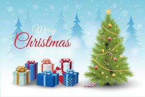 Geschenke und geschmückter Weihnachtsbaum in der Winterlandschaft vektor