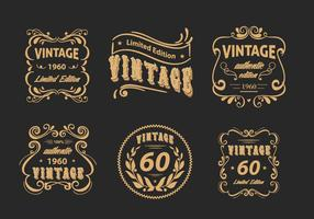 Vintage Label Blumenscrollwork Vector Pack
