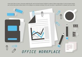 Gratis kontorsarbetsplats Vector Illustration