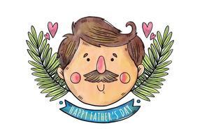 Mustached Dad Aquarell Vatertag Hintergrund