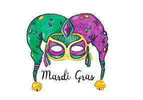 Grön och purpurfärgad vattenfärg Mardi Gras Festival Mask Vector