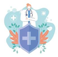 kvinnlig läkare vid koronavirusutbrott vektor