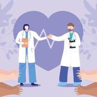 människor som klappar för läkare under koronavirusutbrott vektor