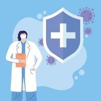 kvinnlig läkare vid koronavirusutbrott