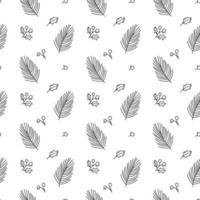 Weihnachten minimalistisches nahtloses Muster mit Blättern