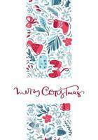 Frohe Weihnachten Kalligraphie und Winterelemente vektor